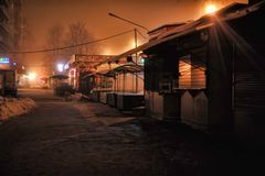 Rusia, St Petersburg, 29,12,2012 contadores de la masilla en la noche s Imagenes de archivo