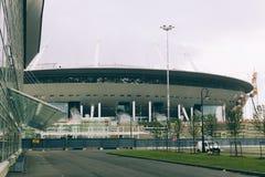Rusia, St Petersburg, 2016: Nueva arena del zenit del estadio de Zenit de la construcción, UEFA, Gazprom-arena Imagen de archivo libre de regalías