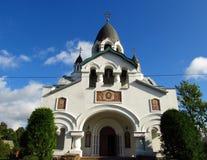 Rusia, St Petersburg, septiembre 16,2017, en la imagen la iglesia de St Alexis el metropolitano de Moscú en el Gatchina Highw Fotografía de archivo