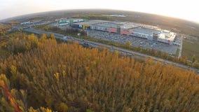 Rusia, Ufa 09 2014 Vista aérea de tiendas grandes almacen de video