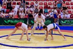 Rusia, Vladivostok, 06/30/2018 Competencia del sumo entre muchachas Torneo adolescente de artes marciales y de deportes que lucha fotos de archivo