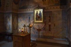 Rusian orthodox church. Inside interior of a rusian orthodox church stock images