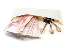 Rusian rubles with house key in paper letter Royalty Free Stock Image
