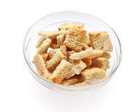 Rusk. On glass plate isolated on white background Stock Photography