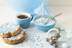 Rusk with blue aniseed balls, muisjes, Dutch treat for when a baby boy is born in The Netherlands royalty free stock photography