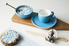 Rusk with blue aniseed balls, muisjes, Dutch treat for when a baby boy is born in The Netherlands stock photo
