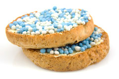 Rusk with blue mice Royalty Free Stock Photos