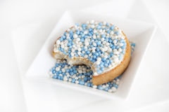 Rusk with blue mice. (aniseed) to celebrate the birth of a baby boy. Dutch tradition Stock Photos