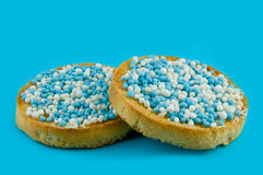 Rusk with blue mice a dutch tradition by a birth Stock Photo