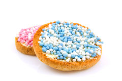 Rusk with blue and pink  mice. Rusk with blue and pink mice over white background Stock Images