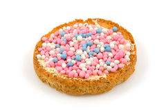 Rusk with blue and pink  mice Stock Photos