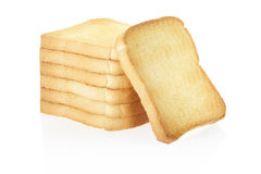 Rusk bread. Slices on white, clipping path included Stock Image