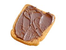 Rusk with cacao cream. Close-up of an isolated rusk with chocolate cream Stock Photo