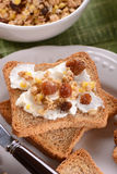 Rusk with cream and granola Stock Image
