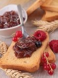 Rusk with jam. And berries Stock Images
