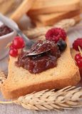 Rusk with jam Royalty Free Stock Photo