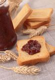 Rusk with jam. And wheat Royalty Free Stock Photo