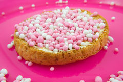 Rusk with pink mice Royalty Free Stock Images