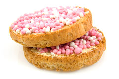 Rusk with pink mice Stock Photos