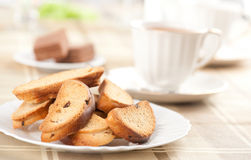 Rusk with raisin. On a plate Stock Image