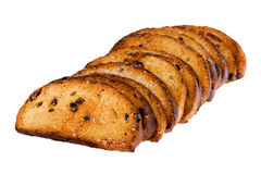Rusk with raisins on white Royalty Free Stock Images