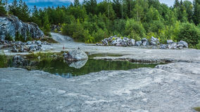 Ruskeala. Marble canyon in the Karelia stock images