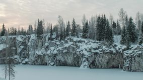 Marble kanyon in Ruskeala, Karelia in winter, Russia stock video