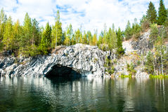 Ruskeala marble quarry. Not far from the settlement, the Ruskeala marble quarries are located. The deposit was discovered in 1765 and has been in operation since royalty free stock photography