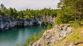 Ruskeala Republic of Karelia, Russia. An inundated quarry of Ruskeala royalty free stock photos