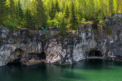 Ruskeala, Sortavala, Republic of Karelia, Russia - June 12, 2017: Marble quarry in Ruskeala Park. Ruskeala - tourist center, located on the ground filled with stock image