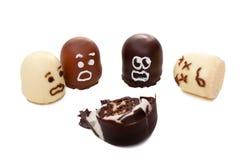 Ruskig olycka för begreppsmarshmallowshow Arkivbilder