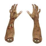Ruskiga levande dödhänder, smutsar ner händer av mamman, på vit 3D illustration, snabb bana stock illustrationer