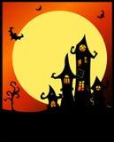 Ruskigt halloween slott. Arkivbild