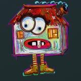 Ruskigt hus för klotter, digital målning Fotografering för Bildbyråer