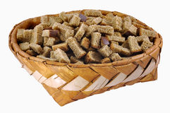 Rusks in big birch-bark box Royalty Free Stock Photo