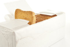 Rusks in box. On a white Background Stock Photo