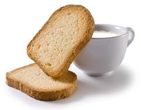 Rusks and milk Stock Photos