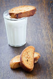Rusks with nuts and  glass of milk Stock Photo
