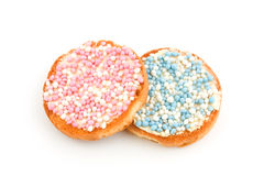 Rusks with pink and blue mice Royalty Free Stock Images