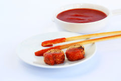 Rusks with sesame seeds, bread sticks and sauce stock image