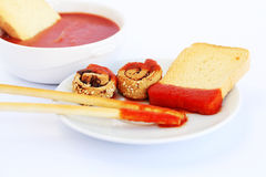 Rusks with sesame seeds, bread sticks and sauce Royalty Free Stock Image