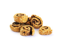 Rusks with sesame seeds and olives stock photo