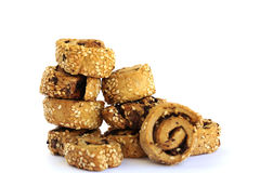 Rusks with sesame seeds and olives Royalty Free Stock Images