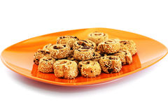 Rusks with sesame seeds and olives stock image