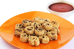 Rusks with sesame seeds, olives and sauce Stock Images