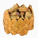 Rusks in small birch-bark box Royalty Free Stock Image