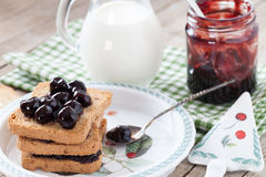 Rusks And Sour Cherries Jam Royalty Free Stock Photo