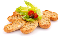 Rusks with vegetables Royalty Free Stock Images