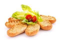 Rusks with vegetables Royalty Free Stock Image