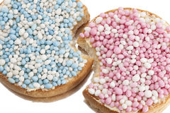 Rusks with white and blue anise seed sprinkles served in Holland Stock Image